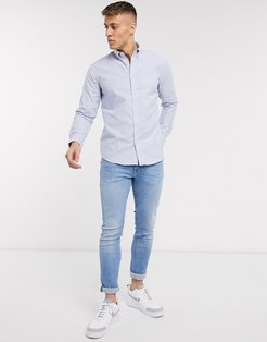 shirt in blue vertical stripe
