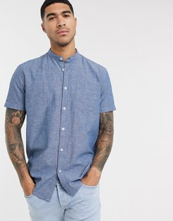 shirt with grandad collar in blue