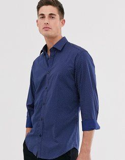 slim fit stretch shirt with triangle print-Navy