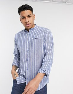 stripe grandad collar shirt in blue