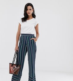 stripe wide leg pants in navy and green stripes-Multi