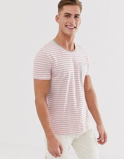 t-shirt with gray and red stripe-White