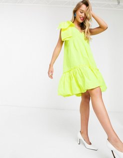 Volleyball bubble mini dress in yellow