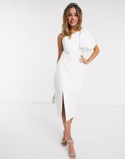 bow shoulder midi dress with thigh split in white