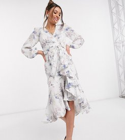 belted ruffle midi dress in soft floral-Multi