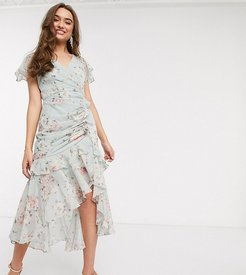 ruched midi dress in soft mint floral-Pink
