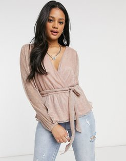 plisse wrap top with tie waist and balloon sleeve in metallic blush-Pink