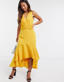 tie back belted high low midi dress in mustard yellow