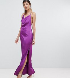 Straight Gown with Button Detailing-Purple