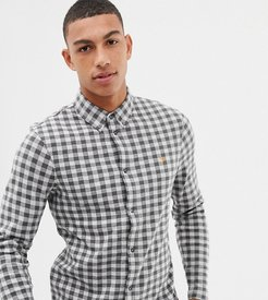 Bobby slim fit checked brushed cotton shirt in gray Exclusive at ASOS