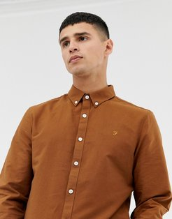 Brewer slim fit oxford shirt in tan