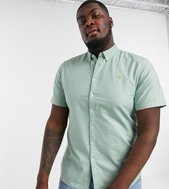 Brewer slim fit short sleeve oxford shirt in green