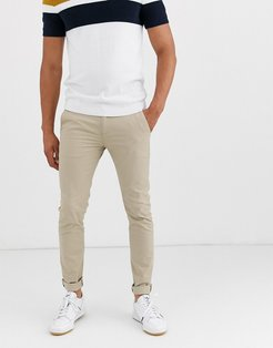 Drake skinny fit chino twill pants in sand-Tan