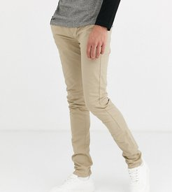 Drake skinny fit twill chino pants in sand-Tan