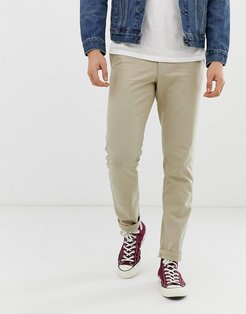 Elm slim fit cotton hopsack pants in sand-Tan