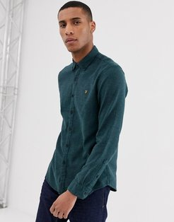 Kreo brushed cotton slim fit shirt in green