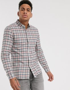 McCaslin brushed cotton check shirt in pink
