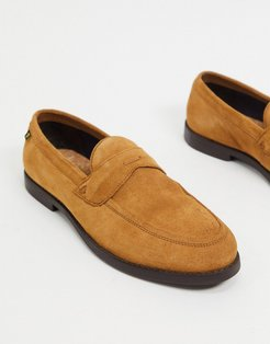 suede loafers in tan