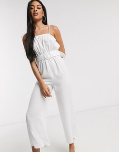 belted beach jumpsuit with wide leg in white