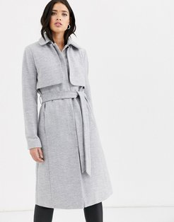 longline belted coat with cape detail-Gray