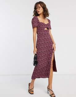 midi dress with cut out in floral print-Red