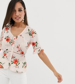 button front top with ladder detail in ditsy floral-Pink