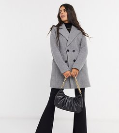 double breasted pea coat-Gray