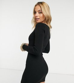 sweater dress with sweetheart neckline-Black