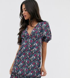 tea dres with puff sleeves and frill hem in vintage floral-Multi
