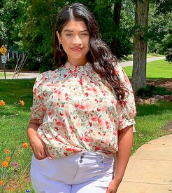 high neck top with tie sleeves in floral-White