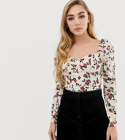 square neck long sleeved top in floral-Cream
