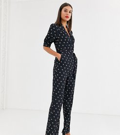 double button front jumpsuit with tie waist in allover ditsy floral-Black