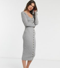 knitted midi dress with button front-Gray