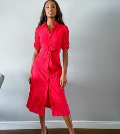 midi shirt dress with boderie sleeves-Red