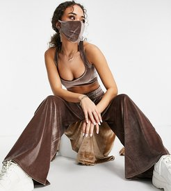 exclusive velour strappy crop top in mink-Brown