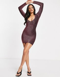 glitter plunge front mini body-conscious dress with ruched bum detail in rose-Pink
