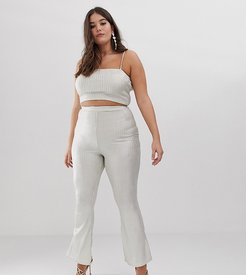 flared pants two-piece in glitter-Pink
