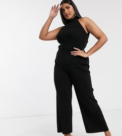 knitted flare pants two-piece in black