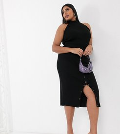 knitted midi bodycon skirt with buttons two-piece in black