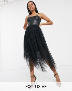 exclusive corset top layered tulle midi dress in black
