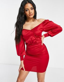 satin wrap detail mini dress with volume sleeves in red