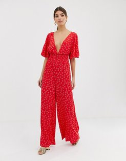 wideleg ditsy print jumpsuit-Red