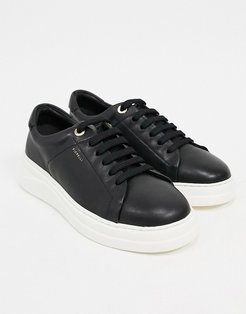 anouk leather lace up sneakers in black