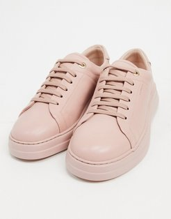 anouk leather lace up sneakers in rosewater-Beige