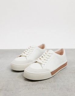 finley leather lace up sneakers in cream