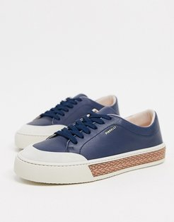 finley leather lace up sneakers in navy