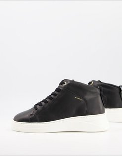 pippa leather high top sneakers in black