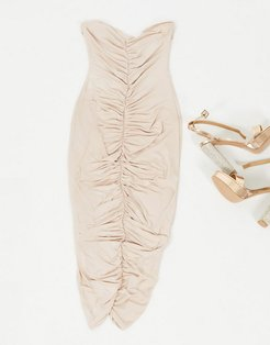 bandeu midi dress with rushed front in mink-Pink