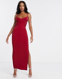 cami midi dress with open back in red