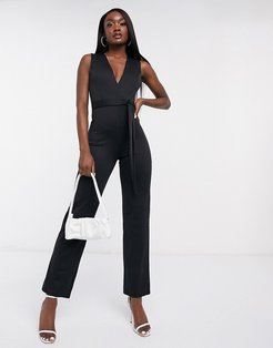 Club plunge neck belted jumpsuit in black-White